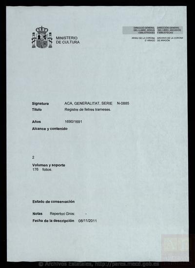 Registre de lletres trameses