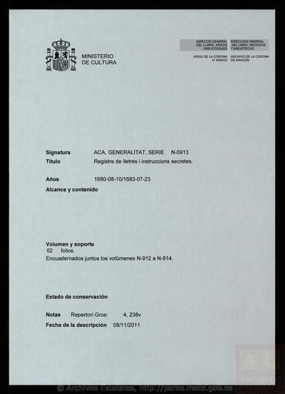 Registre de lletres i instruccions secretes
