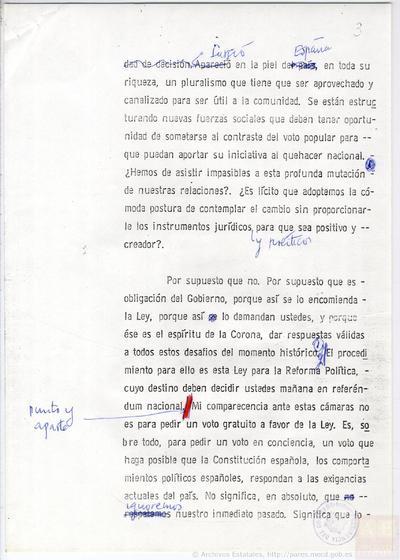Borrador y Original del discurso del Presidente Adolfo Suárez sobre el Referéndum de la Ley para la Reforma Política, ante las cámaras de Televisión Española.
