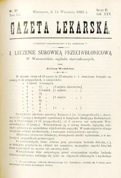 Gazeta Lekarska 1895 R.30, t.15, nr 37
