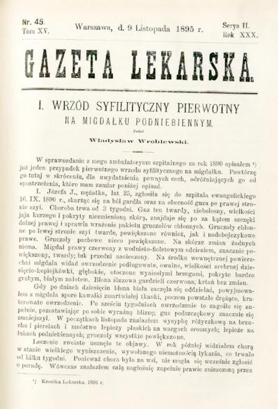 Gazeta Lekarska 1895 R.30, t.15, nr 45
