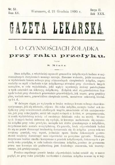 Gazeta Lekarska 1895 R.30, t.15, nr 51