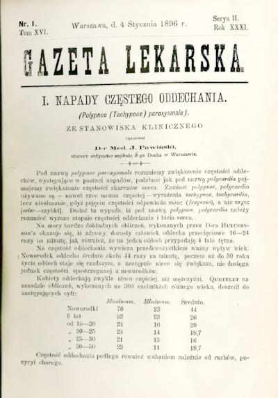 Gazeta Lekarska 1896 R.31, t.16, nr 1