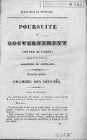 Poursuite du gouvernement contre M. Cabet, député de la Côte d'Or, directeur du Populaire