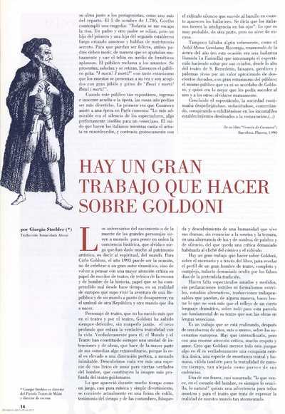 Hay un gran trabajo que hacer sobre Goldoni