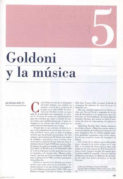 Goldoni y la música