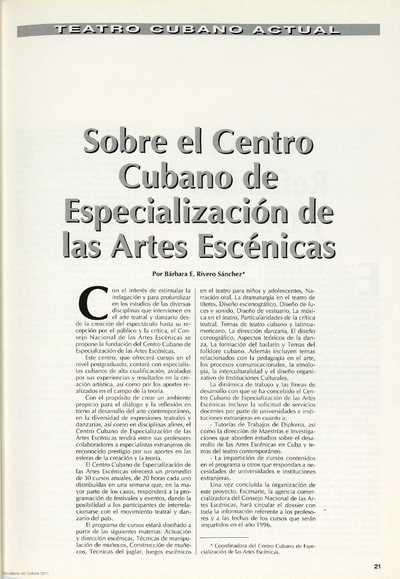 Sobre el Centro Cubano de Especialización de las Artes Escénicas