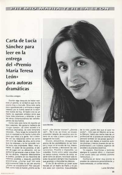 Carta de Lucía Sanchez para leer en la entrega del Premio María Teresa León para autoras dramáticas