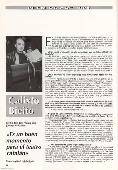 Calixto Bieito : Premio José Luis Alonso para jóvenes directores