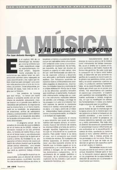 La música y la puesta en escena