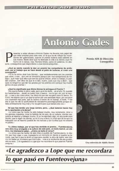 Antonio Gades : Premio ADE de Dirección Coreográfica