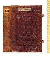 A Romanesque binding -- Ehrman's most expensive purchase. French, 12th century. Reddish brown sheepskin over wooden boards, decorated with a combination of individual tools depicting animals and grotesques. Against fierce competition, Albert Ehrman bought it at the Lucius Wilmerding sale in New York in October 1951 for £6,000. Wilmerding had paid E. P. Goldschmidt £300 for the book in 1934. A large number of the books in the Broxbourne collection include letters from the leading binding experts of the time – in particular E. P. Goldschmidt and G. D. Hobson – supplying information about Ehrman's books. Folded into many of these letters are pencil rubbings of binding tools, related illustrations, booksellers' descriptions, and other ephemera, including the receipt for this binding, also shown.