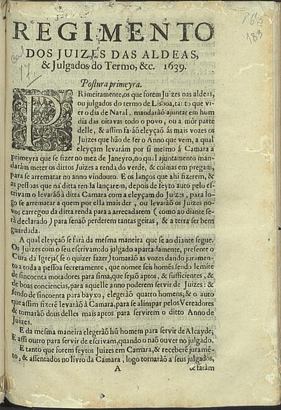 Regimento dos Juizes das Aldeas, e Julgados do Termo, &c. 1639