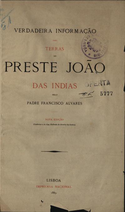 Verdadeira informação das Terras do Preste João das Índias