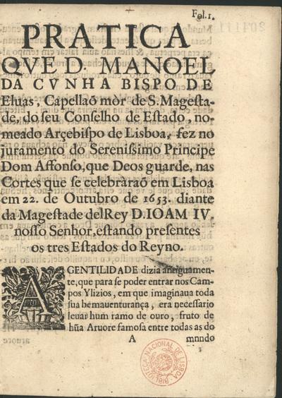Pratica que fez no juramento do Sereníssimo Principe Dom Afonso... em Lisboa em 22 de Outubro de 1653