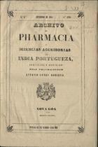 Archivo de pharmacia e sciencias accesorias da India Portuguesa