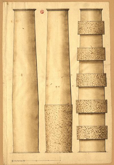 [Estudo arquitectónico]: [três fustes de colunas simples]