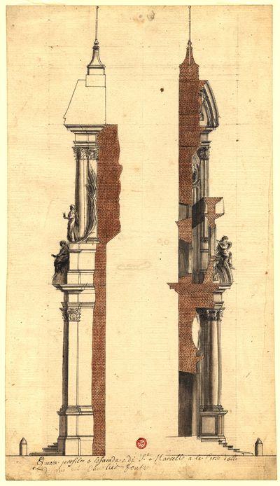Questo profilo e espacada e di S.t Marcello ale Corso dalle designo del Cavalier fontana