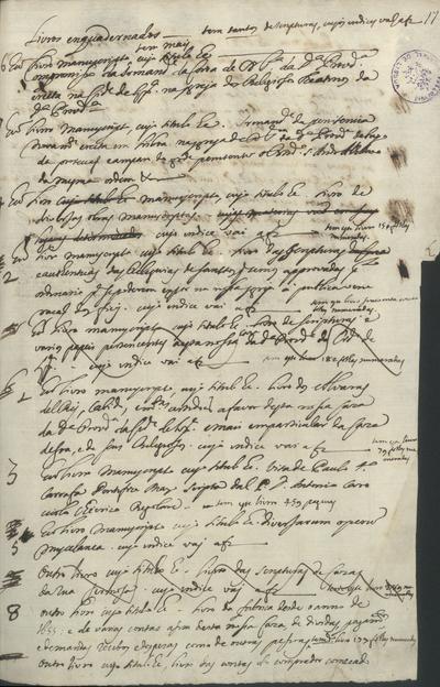 [Relação de livros manuscritos] do Convento da D[ivin]a Prov[i]d[ênci]a de L[i]x[bo]a
