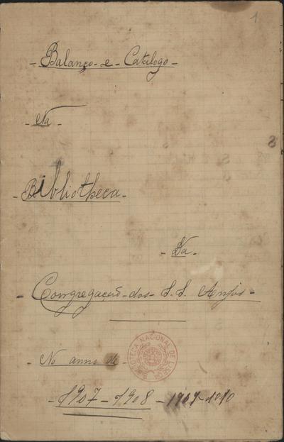 Balanço e Catalogo na Bibliotheca da Congregação dos S.S. Anjos