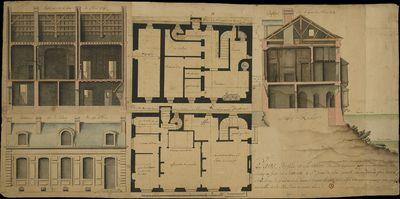[Plantas, alçados e cortes de uma habitação no forte de Sancoa, Saint Jean de Lux
