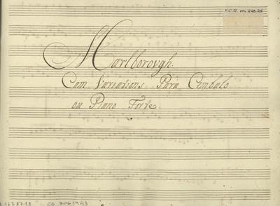 Marlborough: Com Variations Para Cembalo ou Piano Forte