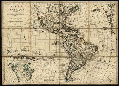 Carte de lªAmérique divisée en ses principaux états avec les nouvelles découvertes faites a Nord et dans la mer du Sud...