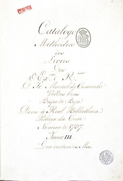 Catalogo dos M[anu]s[crito]s da Doação do Bispo de Beja