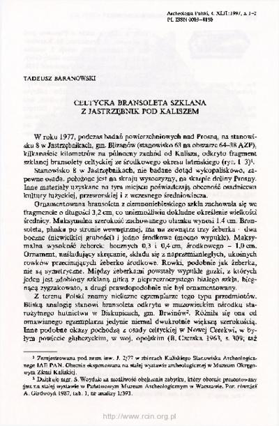 Celtycka bransoleta szklana z Jastrzębnik pod Kaliszem