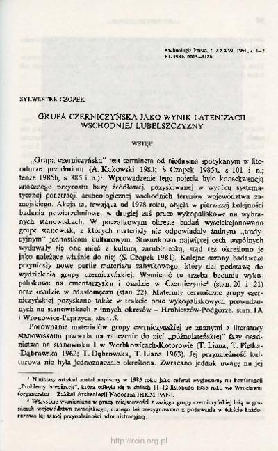 Grupa czerniczyńska jako wynik letanizacji wschodniej Lubelszczyzny