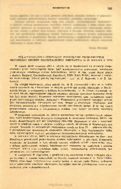 Archeologia Polski. T. 17 (1972) Z. 1, Konferencje