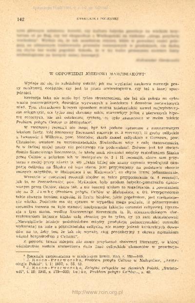 W odpowiedzi Józefowi Marciniakowi [: na recenzję artykułu J. Rosen-Przeworskiej