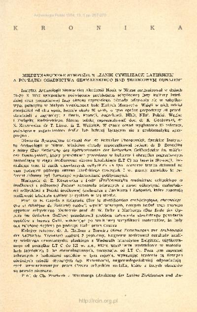 Archeologia Polski. T. 19 (1974) Z. 1, Kronika