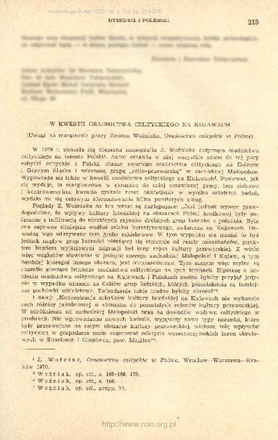 W kwestii osadnictwa celtyckiego na Kujawach : uwagi na marginesie pracy Zenona Woźniaka,
