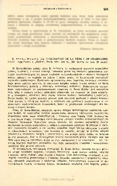 Archeologia Polski. T. 18 (1973) Z. 2, Recenzje i omówienia