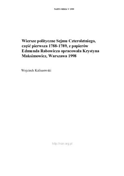 Omnia Wiersze Polityczne Sejmu Czteroletniego Część