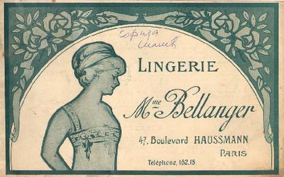 Catalogue of Lingerie Mme Bellanger, 47. Boulevard Haussmann, Paris