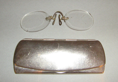 Spectacle /Pince nez spectacles / and case; worn by Pavle Vasić from Belgrade