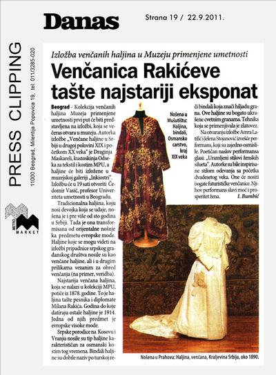 Venčanica Rakićeve tašte najstariji eksponat