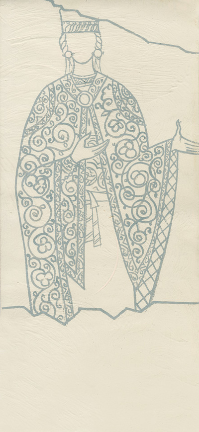 Costume of a female figure from the portrait of the founder