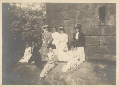 Group portrait of women outdoors