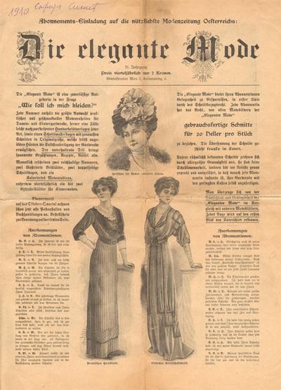 Fashion magazine Die Elegante Mode, an invitation for subscription