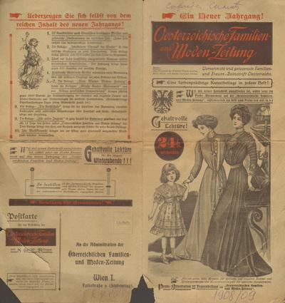 Fashion magazine Oesterreichische Familien- und Moden-Zeitung, an invitation for subscription