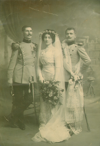 Wedding portrait of Danica Paligorić and Nikola Jorgovanović with a groom; digitally printed copy; bride is wearing the wedding dress MAA inv. no. (identifier) 22891
