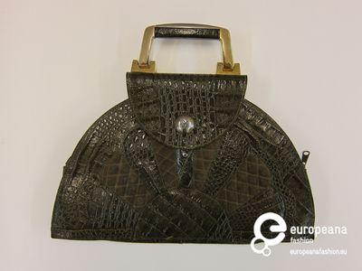 Handtas in groen krokodillenleer