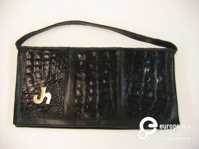 Enveloppetas in zwart krokodillenleer