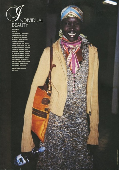 Archivio Missoni - Alek Wek in the Backstage at Missoni for Catwalk s/s 2004