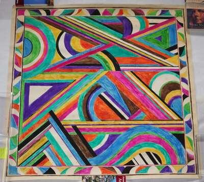 Disegno motivo geometrico linee e cerchi senza titolo.
