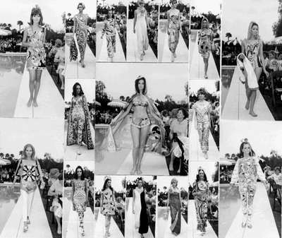 Puccimania: composizione di foto della collezione Pucci del 1970.