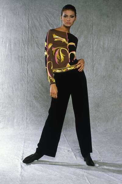 Top in jersey di seta stampata e pantalone in velluto